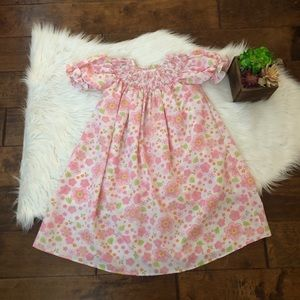 Carouselwear Smocked Dress Bishop Size 2T Floral